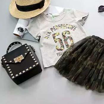 万博网页版万博manbetx体育夏季女童迷彩套装短袖T恤迷彩短裙两件套manbetx万博体育平台批发